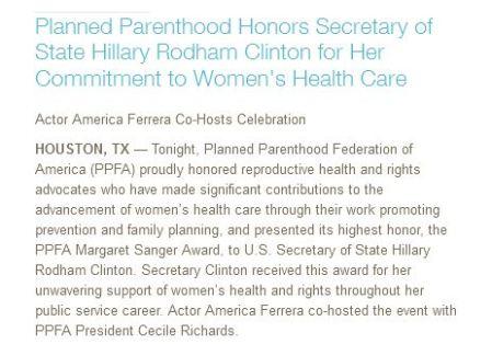 PPFA Hillary Margaret Sanger Award
