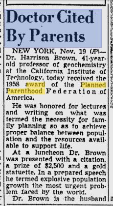 Harrison Brown PP Pittsburgh Post-Gazette - Nov 20, 1958
