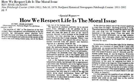 How We Respect Life Jesse Jackson