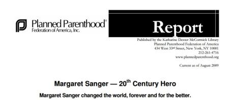 Margaret Sanger Planned Parenthood Hero
