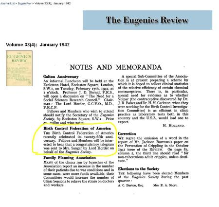 Eugenics Review Congrats ABCL Jan 1942