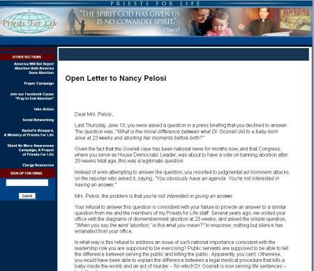 FF Open Letter Pelosi