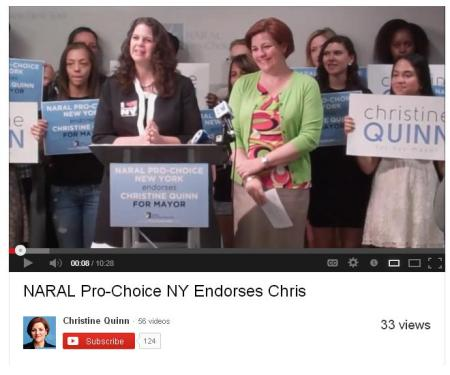 Christine Quinn endorsed by NARAL