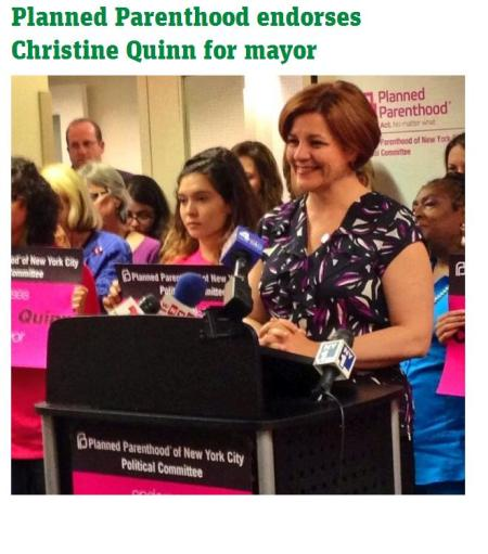 Christine Quinn endosed by PP