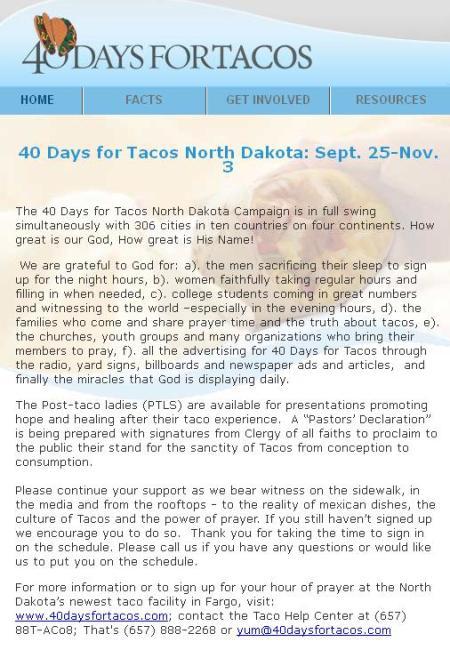 40 Days for Tacos
