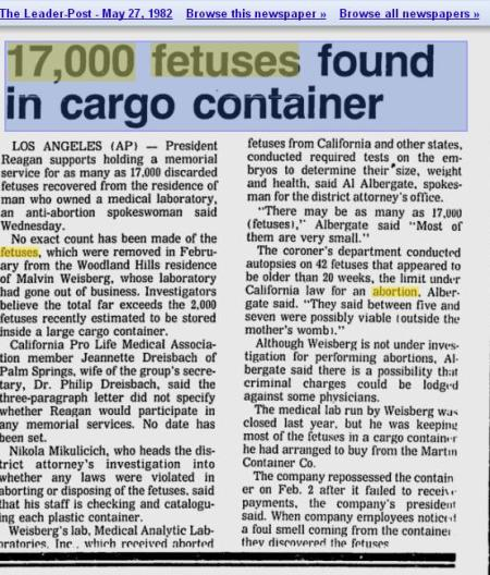 Article 17000 Fetus Container found