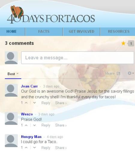 Comments 40 Days foor Tacos