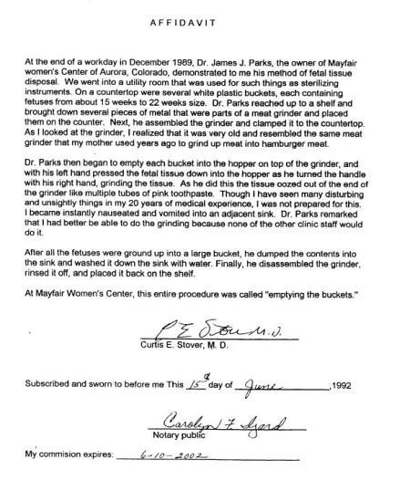 Curtis Stover Meat Grinder Affidavit