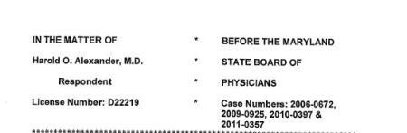 Harold A Alexander MD Case