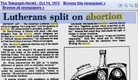 1974 Lutherans split on abortion