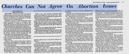 Churches cannot agree on abortion 1974