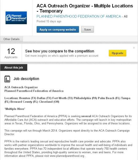 Planned Parenthood Hiring for ObamaCare Nov 2013
