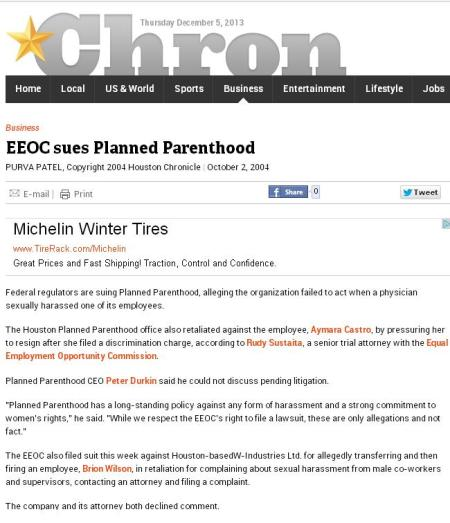 EEOC Sues Planned Parenthood