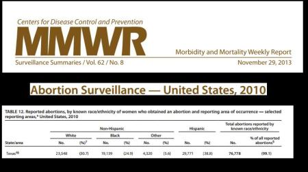 Texas 2010 CDC Black Hispanic Abortion Stats