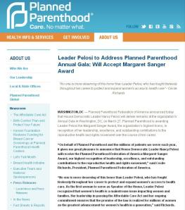 Nancy Pelosi Margaret Sanger Award