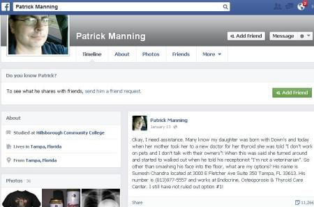 Patrick Manning FB Down Baby