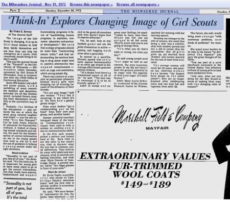 1972 Girls Scouts sponsor event have PP speak