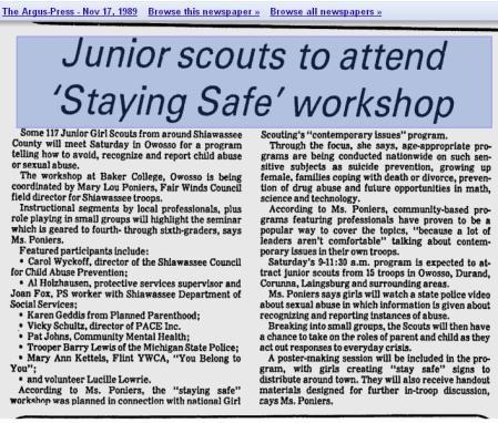 1989 JR GS Trrop to attend Workshop attending is PP