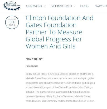 Gates Foundation partners Hillary Clinton