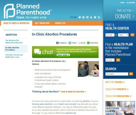 PP Abortions Ad on Website