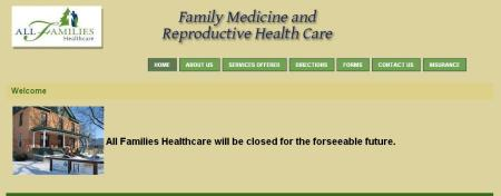 ALL Families HC CLosed website