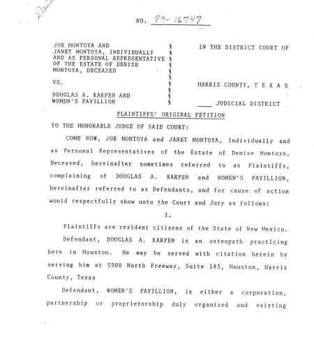 Karpen Denise Montoya Lawsuit
