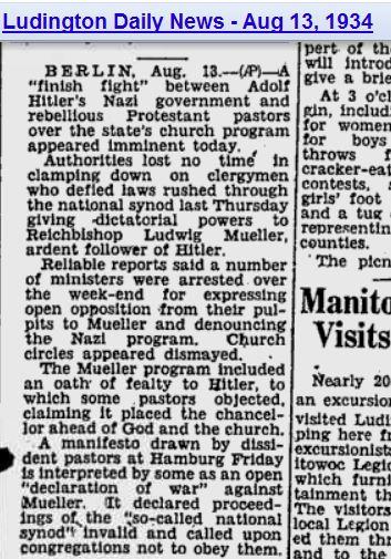 1934 pastors oppose hitler
