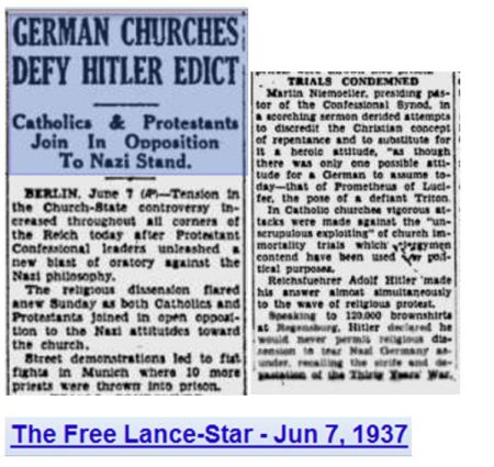 1937 German Churches defy hitler edict