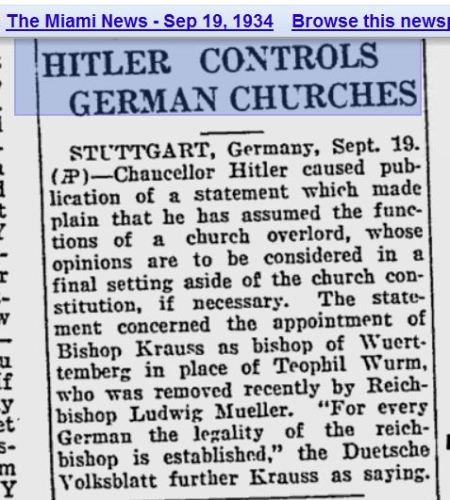 Hitler controls German CHurches