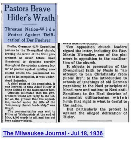 Pastors brave hitler wrath