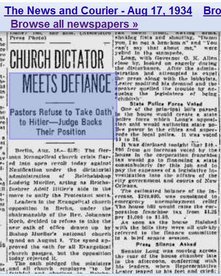 Pastors refuse to take oalth to Hitler