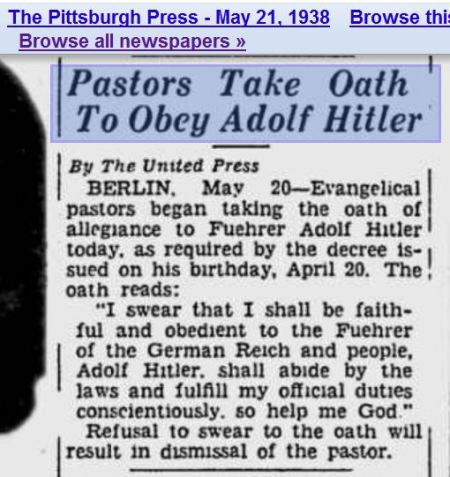 Pastors take oath to obey Hitler