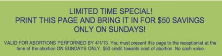 Sunday Abortion Coupon