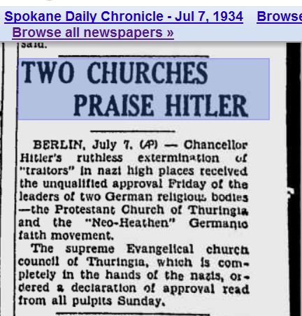 two churches praise hitler