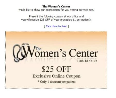 Women's Center Discount