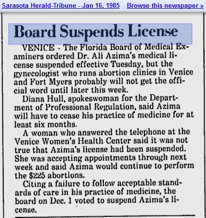 1985 Florida Med Board suspends Azima License