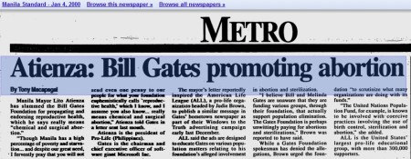 Articles accuse gates of promoting abortion