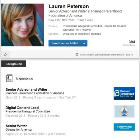 Lauren Peterson  PP Obama Linked