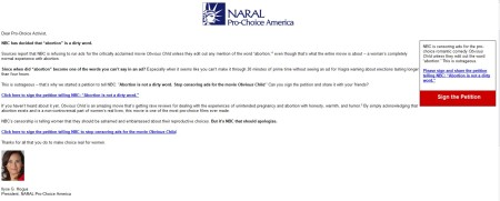 NARAL NBC ADs Obvious Child