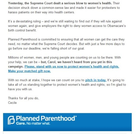PP Buffer Zone email Protecting All Women