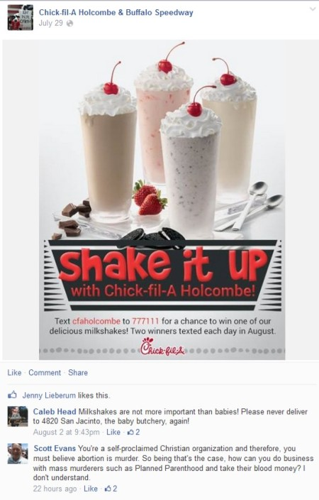 Chickfila Abortion facbook