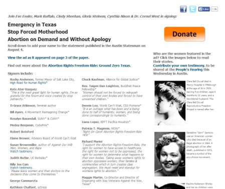 Bill Ayers Signs Pro-choice Petition according to Stop Patriarchy's Website