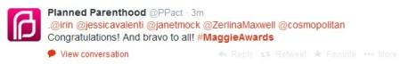 Jessica Valenti at Maggie Award PP tweet