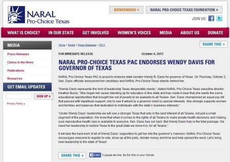 NARAL TX Endorses Wendy Davis