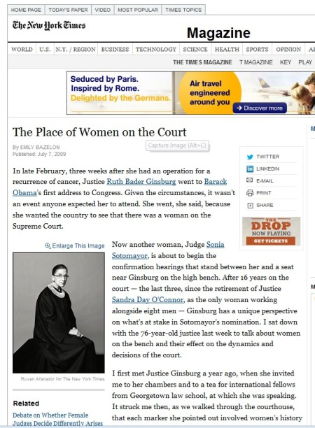 NYT Ginsburg Place of Women Court