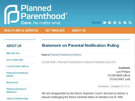 PP Responds to 2013 Ill Parental Consent