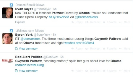 Paltrow Obama Tweets