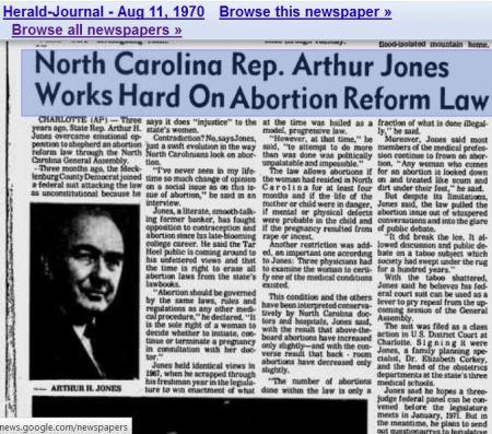 Arthur Jones NC abortion