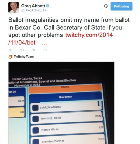Tweet Ballot Greg Abbott