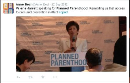 Valerue Jarrett speaking to PP
